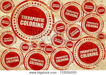 therapeutic coloring, red stamp on a grunge paper texture