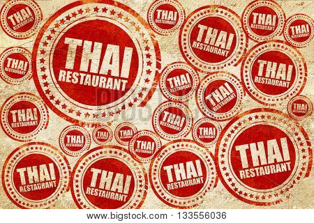 thai restaurant, red stamp on a grunge paper texture