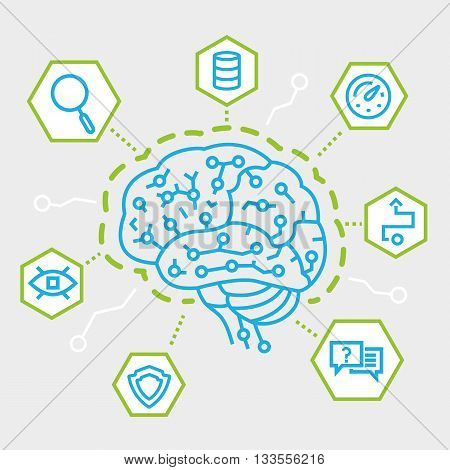 Modern Thin Line Concept of Artificial Intelligence Communication Functions and Electronic Mindmap. Simple vector linear flat style infographics