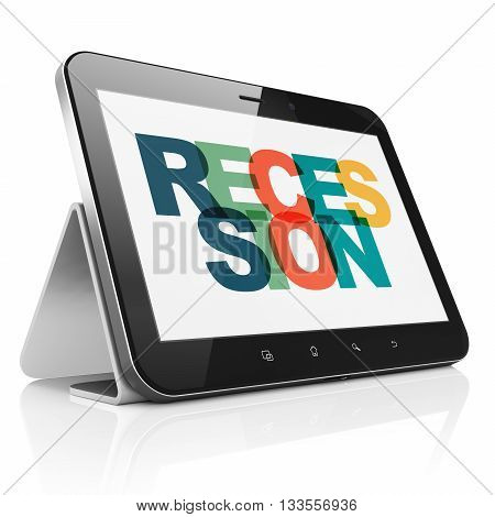 Business concept: Tablet Computer with Painted multicolor text Recession on display, 3D rendering