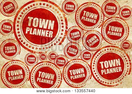 townplanner, red stamp on a grunge paper texture