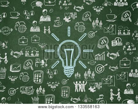 Finance concept: Chalk Blue Light Bulb icon on School board background with  Hand Drawn Business Icons, School Board