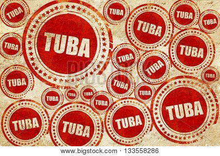 tuba, red stamp on a grunge paper texture