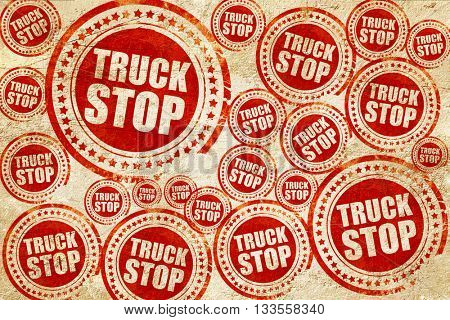 truck stop, red stamp on a grunge paper texture