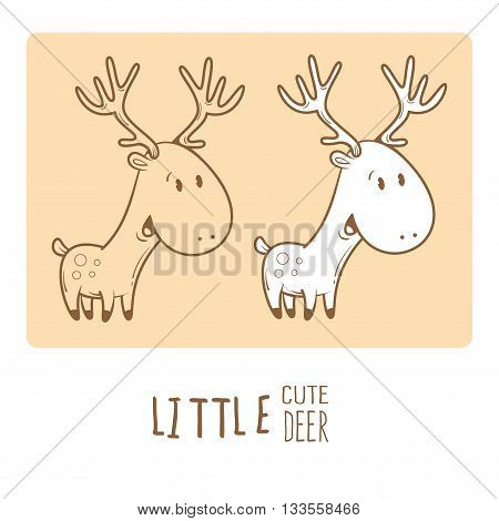 Card with cute cartoon deer.  Little funny animal. Children's illustration.  Big horns. Two variants vector contour  image, transparent background and white fill.