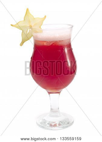 Red Starfruit cocktail isolated on white background