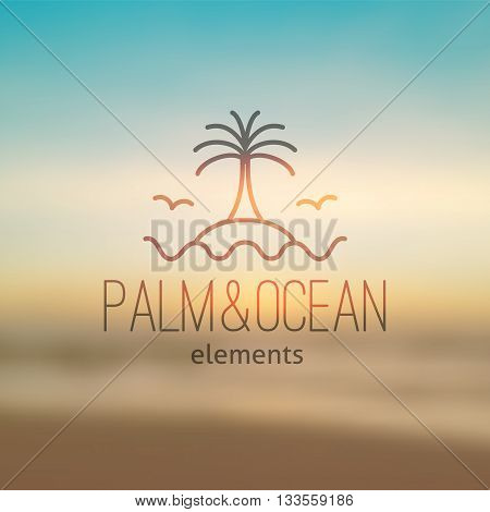 summer logo for travel agency or hotel. Palm, waves, island and seagulls on realistic seascape background