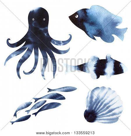 Sea Life Watercolor. Watercolor Marine life Set