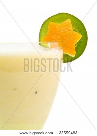Orange and milk smoothie isolated on white background