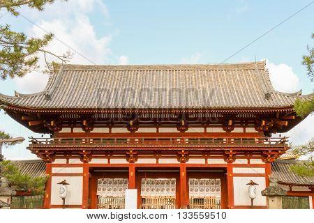 Horyuji Temple front view Nara Park Japan