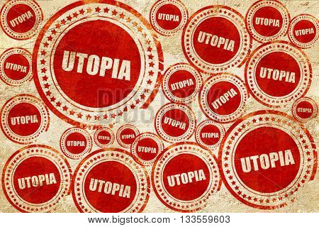 utopia, red stamp on a grunge paper texture