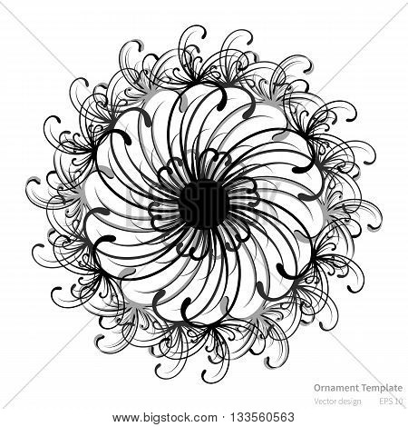 Vector circular abstract ornament pattern. Round ornament on white background. Original circular ornament in black color. Vector ornament pattern for various use. Ornament in mandala style.