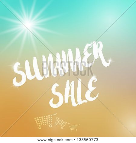 Vector summer sale template. Summer sale template on colorful background. Template with sun object. Sale text template with sparkles. Sale card template for various use esp. for disount events.