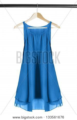 Blue chiffon dress on clothes rack isolated over white