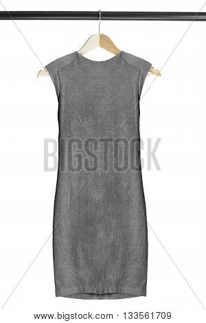 Gray basic dress on clothes rack isolated over white
