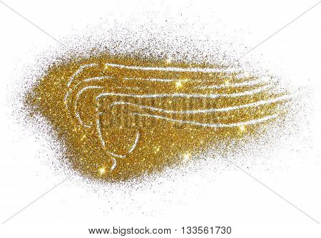 Silhouette of a girl with long hair of golden glitter on white background