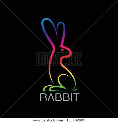 Vector image of an rabbit design on black background. Rabbit Logo Rabbit Tattoo Rabbit Icon Vector rabbit for your design.