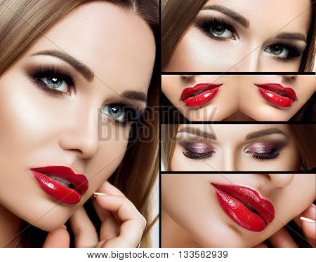 A collage of makeup. Beautiful smoky eyes, red plump lips, long eyelashes. Portrait Face closeup, detail makeup, with make-up.