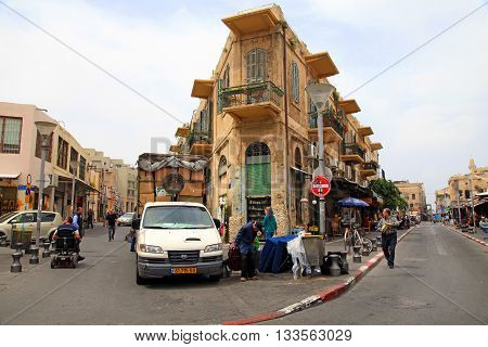 TEL AVIV-JAFFA, ISRAEL - APRIL 5, 2016:The Flea Market Shuk Hapishpeshim on old streets of Jaffa, Tel Aviv, Israel.