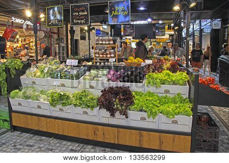 TEL AVIV, ISRAEL - APRIL 7, 2016: Vegetables display in the new Sarona food market, Tel Aviv, Israel