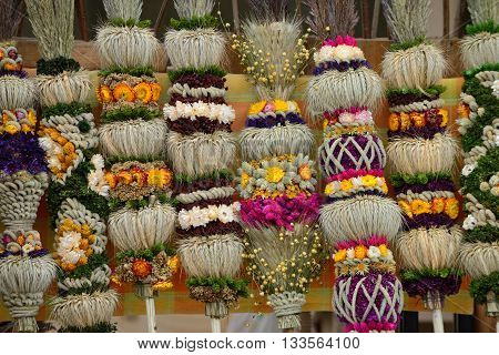 VILNIUS LITHUANIA - MARCH 7: Traditional palm bouquets in annual traditional crafts fair - Kaziuko fair on Mar 7 2015 in Vilnius Lithuania