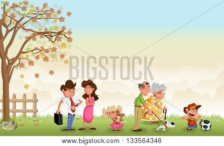Green grass landscape with cute cartoon family.