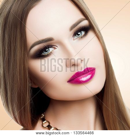 Beauty Portrait Of Beautiful Lady With Bright Makeup, Gold, Bright Fuchsia Lips. Beauty, Fashion, Gr
