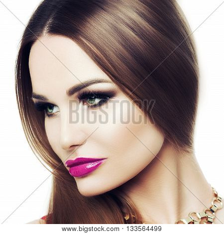 Square Portrait Of A Beautiful Young Woman. The Beauty Of Classic, Black And Gold Makeup, Fuchsia Li