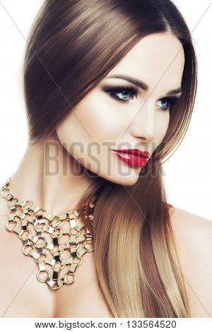 Beautiful Elegant Woman With Bright Makeup And Blue Eyes. Cosmetics, Care. Studio White Background,