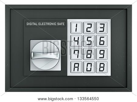 Closed electronic safe isolated on white with clipping path, 3d rendering