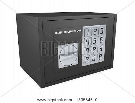 Closed electronic safe isolated on white background, 3d rendering