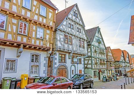 Besigheim Germany - December 27 2016: Half-timbered houses in the old historic city district.