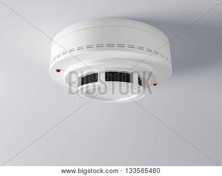 white smoke detector on ceiling, 3d rendering