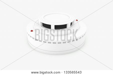 Smoke detector isolated on white with clipping path, 3d rendering
