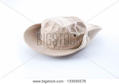 brown safari hat on white background .