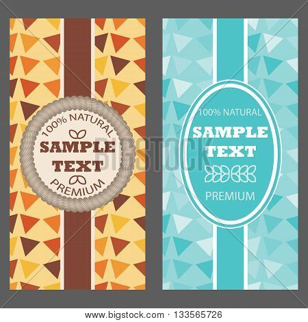 Template packaging multicolored geometric triangles ornament for hot and cold product frame for your text. Vector illustration