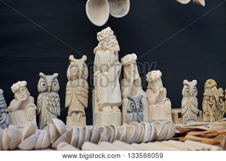 VILNIUS, LITHUANIA - MARCH 8: Traditional hand made wood sculptures in annual traditional crafts fair - Kaziuko fair on Mar 8, 2015 in Vilnius, Lithuania