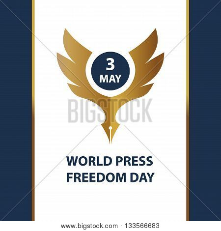 Logo for world day freedom press sign for presentation event. Gold eagle on white background.