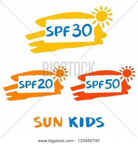 Vector logo for sun protect cream. Illustration of sun protection factor. Lotion with effective of protective skin