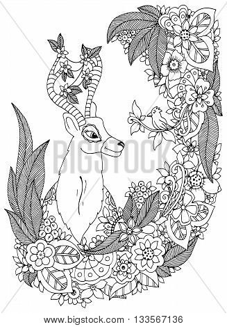 Vector illustration Zen Tangle deer in a flower frame. Doodle drawing. Coloring book anti stress for adults. Black and white.