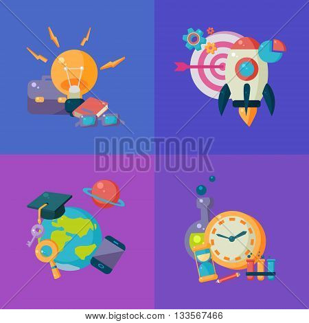 Science Studies Four Illustrations Set. Cartoon Simple Style Scientific Objects Collection. College Science Education Vector Bright Color Illustration.