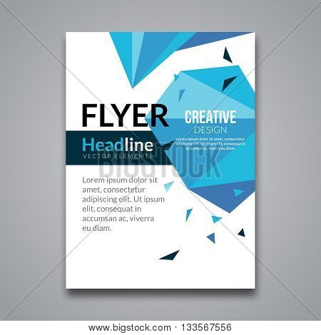 Cover report blue colorful triangle geometric prospectus design background, cover flyer magazine, brochure book cover template layout, vector illustration.