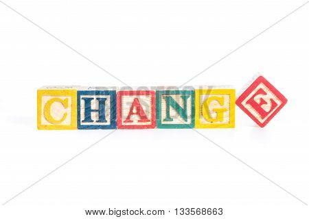 photo of a alphabet blocks spelling CHANGE isolate on white background
