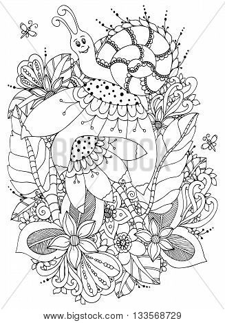 Vector illustration Zen Tangle Snail on flowers. Doodle drawing. Coloring book anti stress for adults. Black and white.