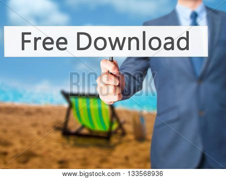 Free Download - Businessman Hand Holding Sign