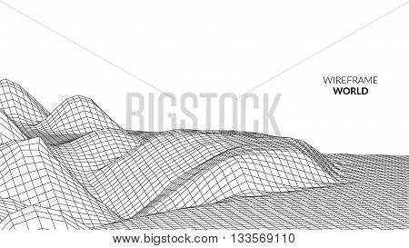Wireframe Landscape Background. Futuristic Landscape with line Grid. Low Poly 3D Wireframe Mapping. Network Cyber Technology background. Map travel.