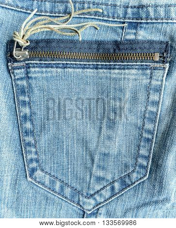 Back Pocket With Zipper And The Texture Of Blue Denim Jeans For Background Use