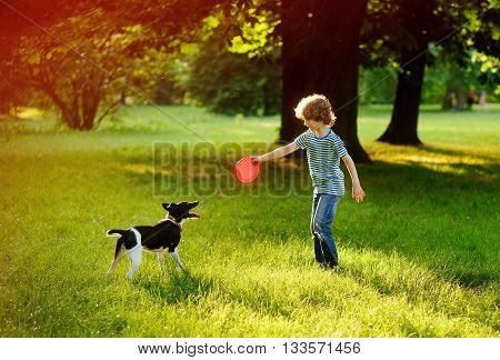 The boy of 8-9 years trains in park with the dog.He holds a red disk in hand. The dog has opened a mouth and has flicked out tongue language. She was tired.