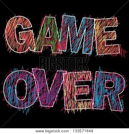 Game Over painted children's style pencil on blackvector illustration