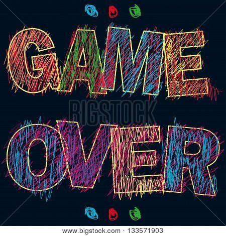 Game Over painted children's style pencilvector illustration